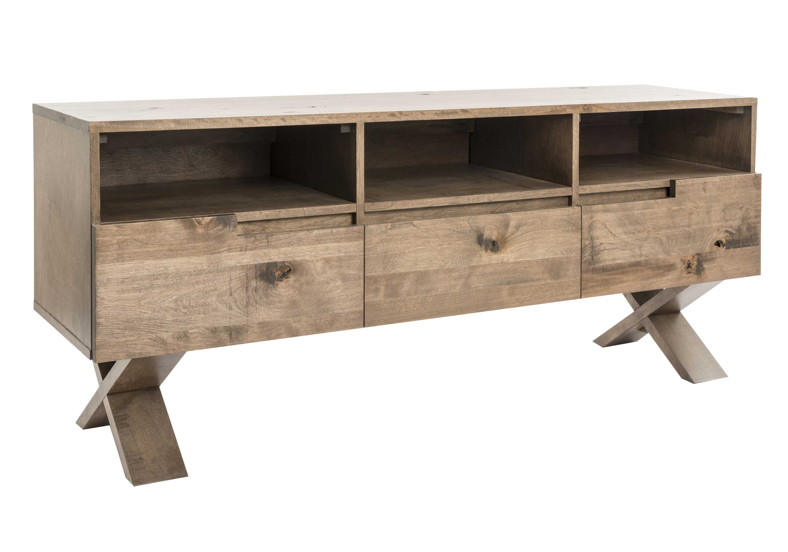 "TV base in rustic birch / Top, front and base in solid wood / 3 drawers with ""quadro"" slides"