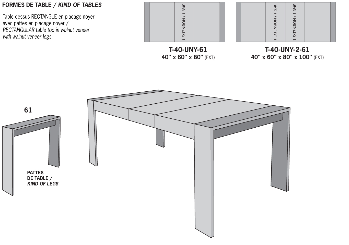 Viebois  Catalog  Dining tables  T40UNY61