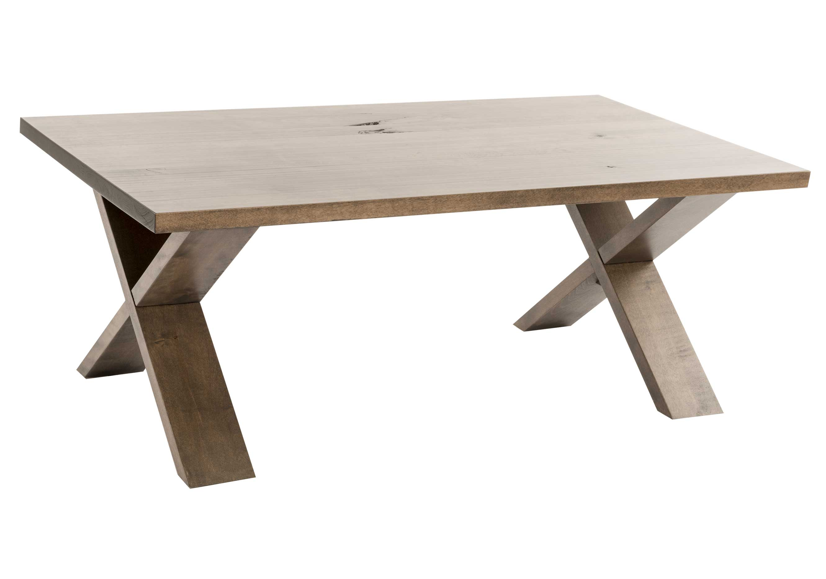 Rectangular center table / Solid wood rustic birch
