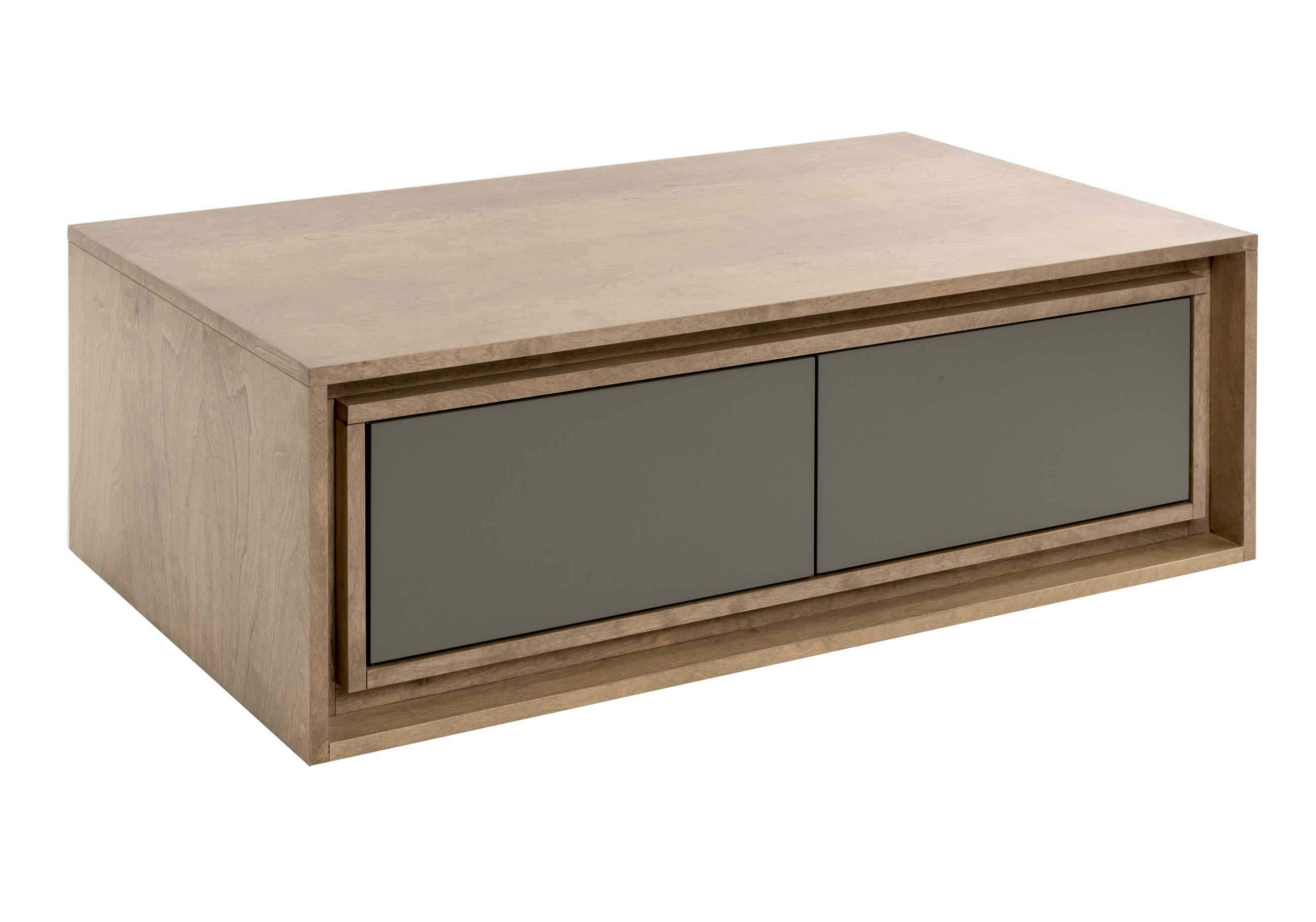 "Rectangular center table / 2 drawers with ""quadro"" slides"